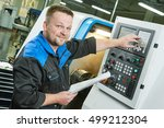 industrial worker operating cnc ... | Shutterstock . vector #499212304