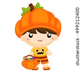 boy in pumpkin costume | Shutterstock .eps vector #499212400