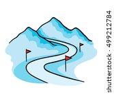ski track icon in cartoon style ... | Shutterstock .eps vector #499212784