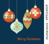 retro christmas greeting card ... | Shutterstock .eps vector #499214029