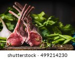 Rack Of Lamb   Raw Meat With...