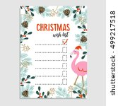 cute christmas card  wish list. ... | Shutterstock .eps vector #499217518