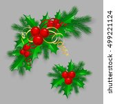 vector christmas holly with... | Shutterstock .eps vector #499221124