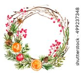 christmas wreath. ornaments... | Shutterstock . vector #499237348