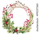 christmas wreath. ornaments... | Shutterstock . vector #499237363