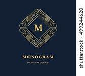 line graphics monogram. elegant ... | Shutterstock .eps vector #499244620
