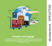 passport luggage airplane... | Shutterstock .eps vector #499247530