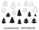 fir tree vector silhouette line ... | Shutterstock .eps vector #499248100