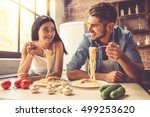 beautiful young couple is... | Shutterstock . vector #499253620
