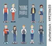 young people collection  | Shutterstock .eps vector #499258633