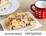 fruit bread slices with milk in ... | Shutterstock . vector #499260334