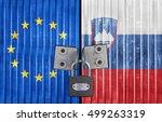 eu and slovenia flag on door... | Shutterstock . vector #499263319