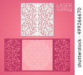 laser cut wedding invitation... | Shutterstock .eps vector #499266670