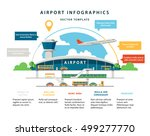flat vector airport infographic ... | Shutterstock .eps vector #499277770