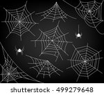 halloween monochrome spider web ... | Shutterstock .eps vector #499279648