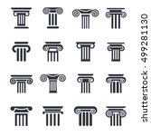 ancient columns vector icon set.... | Shutterstock .eps vector #499281130