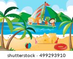 children sailing in the sea... | Shutterstock .eps vector #499293910