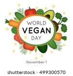 vector card for world vegan day | Shutterstock .eps vector #499300570