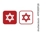 Star Of David Vector Icon. Red...
