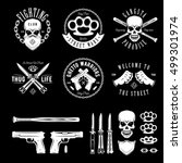 gangster labels badges emblems... | Shutterstock .eps vector #499301974