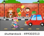 children painting wall by the... | Shutterstock .eps vector #499303513