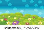 cartoon happy and funny scene...   Shutterstock . vector #499309549