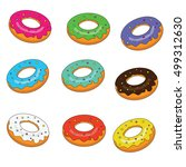 sweet bakery. isolated donuts... | Shutterstock .eps vector #499312630