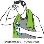 man workout with bottle of... | Shutterstock .eps vector #499318936