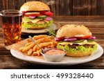 fresh tasty burger with fries... | Shutterstock . vector #499328440