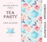 Stock vector tea party invitation 499334824