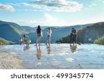 Small photo of Oaxaca, Mexico - November 15, 2014: Young people pose for photos and chill in the pools of the Hierve el agua hot springs in the state of Oaxaca, Mexico