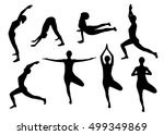 yoga silhouettes | Shutterstock .eps vector #499349869