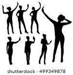 girl taking selfie silhouettes | Shutterstock .eps vector #499349878
