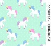 unicorn seamless pattern on... | Shutterstock .eps vector #499355770