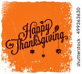 thanksgiving vintage card... | Shutterstock .eps vector #499363630
