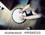 Child Plays On Drum Isolated