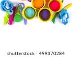 plasticine and tools on white... | Shutterstock . vector #499370284