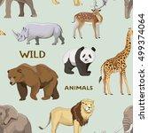 wild animals set pattern   Shutterstock .eps vector #499374064