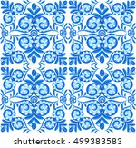 blue vector floral square... | Shutterstock .eps vector #499383583