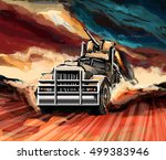 illustration of a truck in the... | Shutterstock . vector #499383946