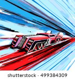 illustration fast energetic car | Shutterstock . vector #499384309