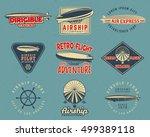 vintage airship logo designs... | Shutterstock . vector #499389118