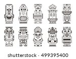vector set of tribal polynesian ... | Shutterstock .eps vector #499395400