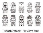vector set of tribal polynesian ... | Shutterstock .eps vector #499395400