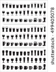 set of black icons beer glass.... | Shutterstock .eps vector #499405078