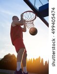 young man jumping and making a... | Shutterstock . vector #499405474