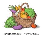 vegetables in wicker basket.... | Shutterstock .eps vector #499405813