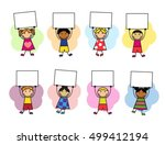cartoon kids in bright clothes... | Shutterstock .eps vector #499412194