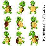 happy turtle cartoon collection ... | Shutterstock . vector #499412716