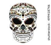 ornate skull style zentangl ... | Shutterstock .eps vector #499418746